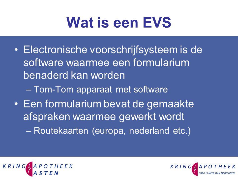 Wat is een EVS Electronische voorschrijfsysteem is de software waarmee een formularium benaderd kan worden.