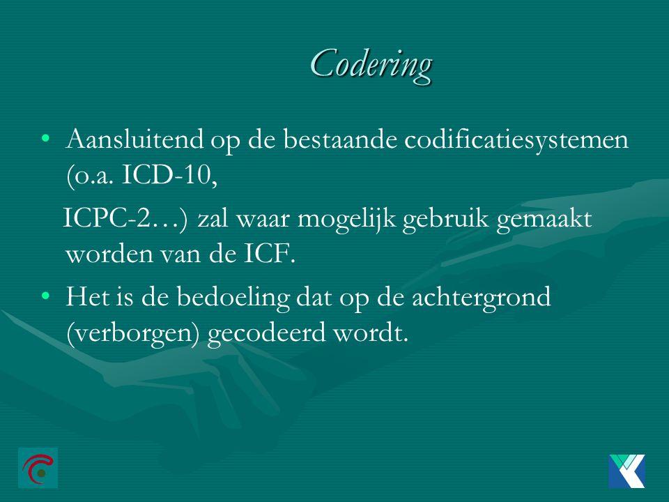 Codering Aansluitend op de bestaande codificatiesystemen (o.a. ICD-10,