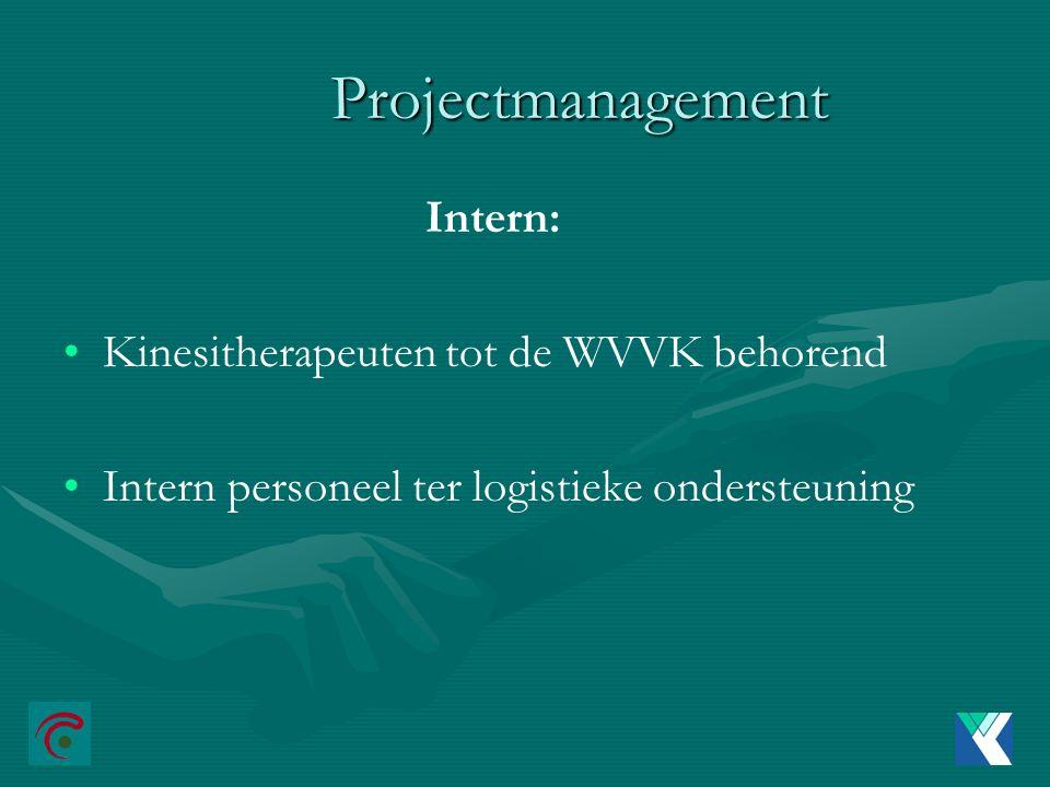 Projectmanagement Intern: Kinesitherapeuten tot de WVVK behorend