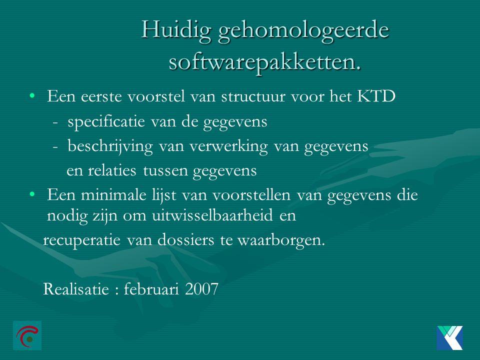 Huidig gehomologeerde softwarepakketten.