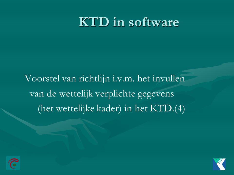 KTD in software Voorstel van richtlijn i.v.m. het invullen