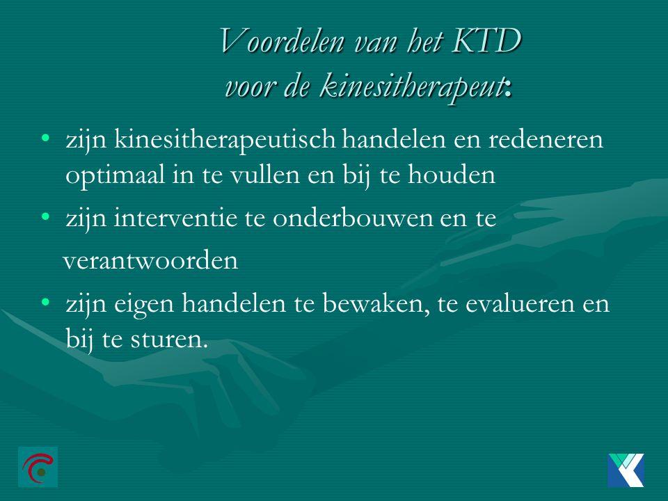 Voordelen van het KTD voor de kinesitherapeut: