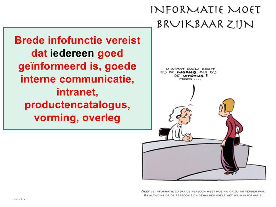 Brede infofunctie vereist dat iedereen goed geïnformeerd is, goede interne communicatie, intranet, productencatalogus, vorming, overleg