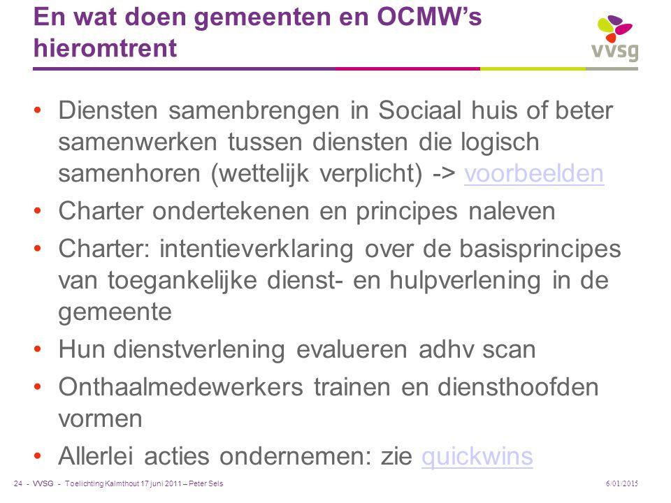 En wat doen gemeenten en OCMW's hieromtrent