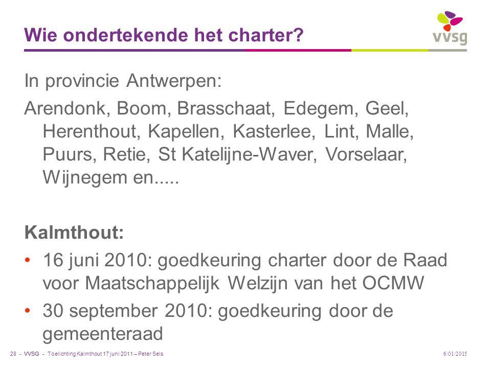 Wie ondertekende het charter