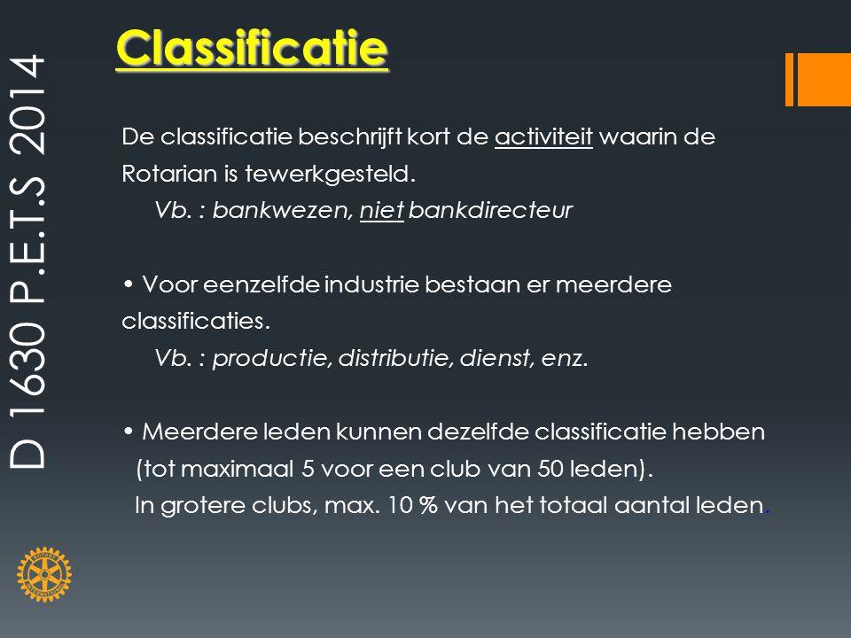 D 1630 P.E.T.S 2014 Classificatie. De classificatie beschrijft kort de activiteit waarin de Rotarian is tewerkgesteld.