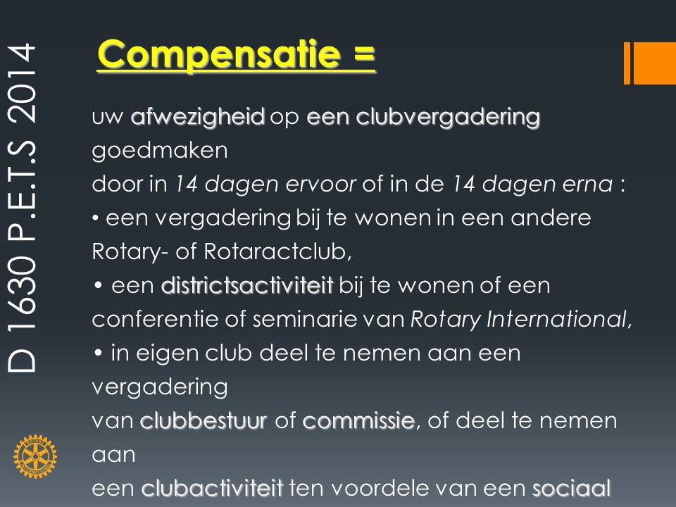 D 1630 P.E.T.S 2014 Compensatie = uw afwezigheid op een clubvergadering goedmaken. door in 14 dagen ervoor of in de 14 dagen erna :