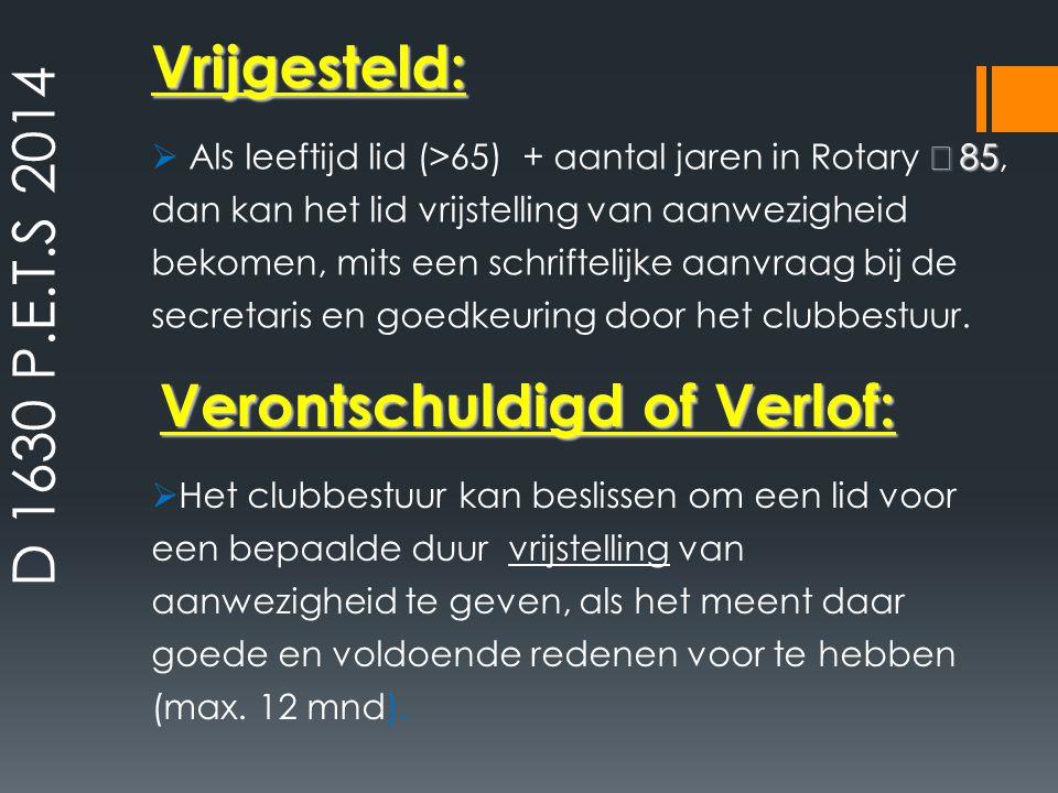 Verontschuldigd of Verlof: