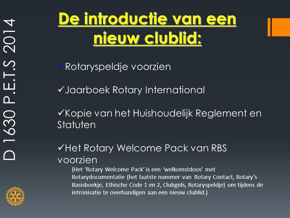 De introductie van een nieuw clublid:
