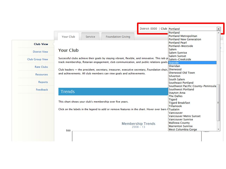 District: 0000 As a district officer you also have the option to switch between different clubs from any page at the Club-View level.
