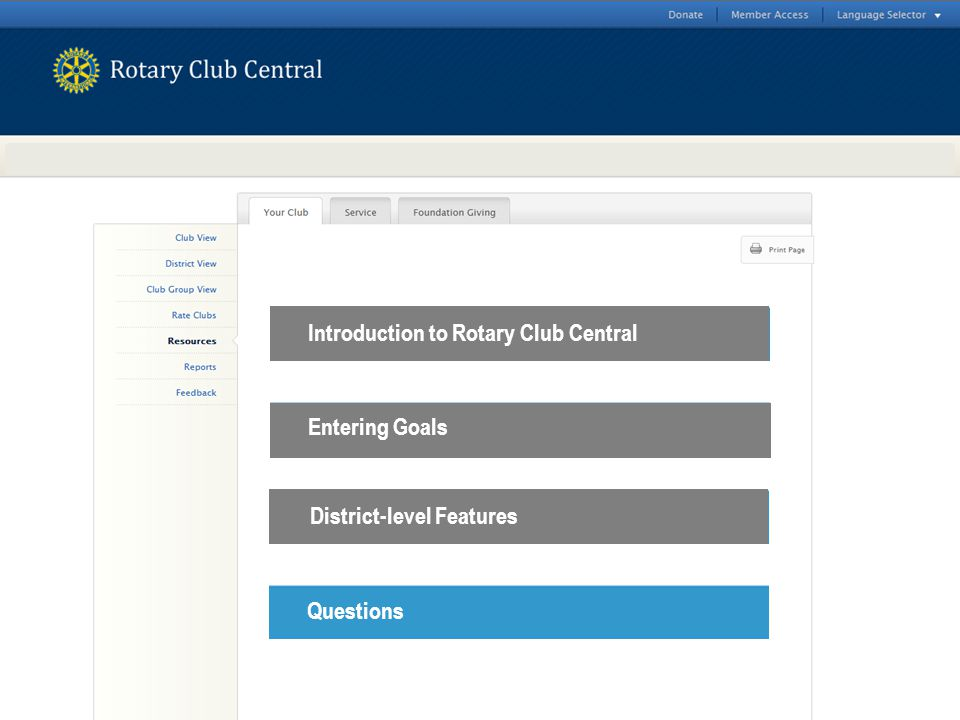 Introduction to Rotary Club Central