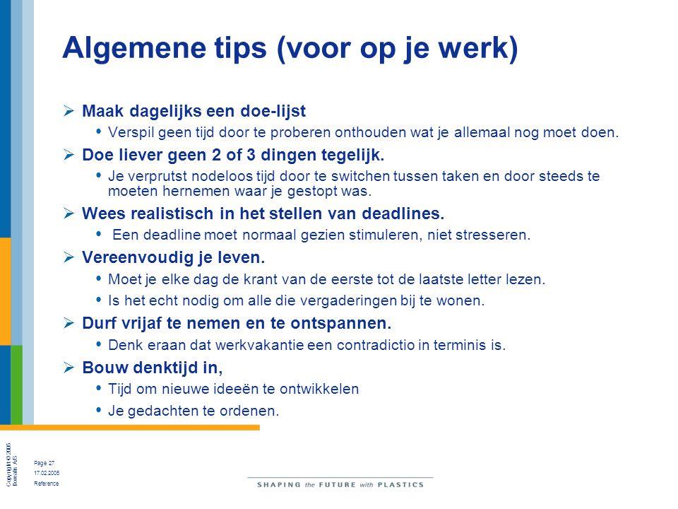 Algemene tips (voor op je werk)