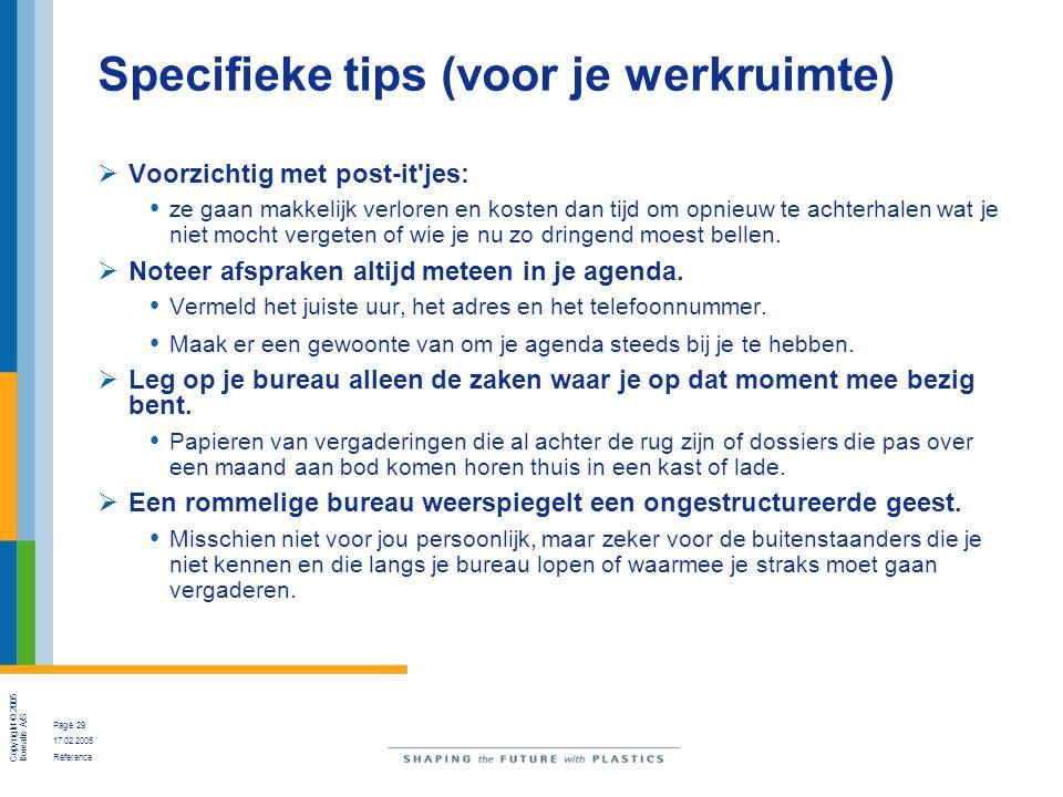Specifieke tips (voor je werkruimte)