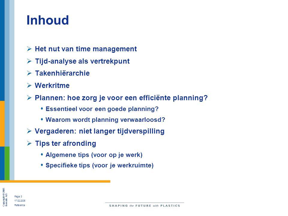 Inhoud Het nut van time management Tijd-analyse als vertrekpunt