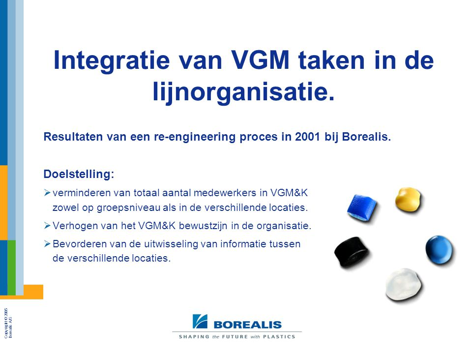 Integratie van VGM taken in de lijnorganisatie.
