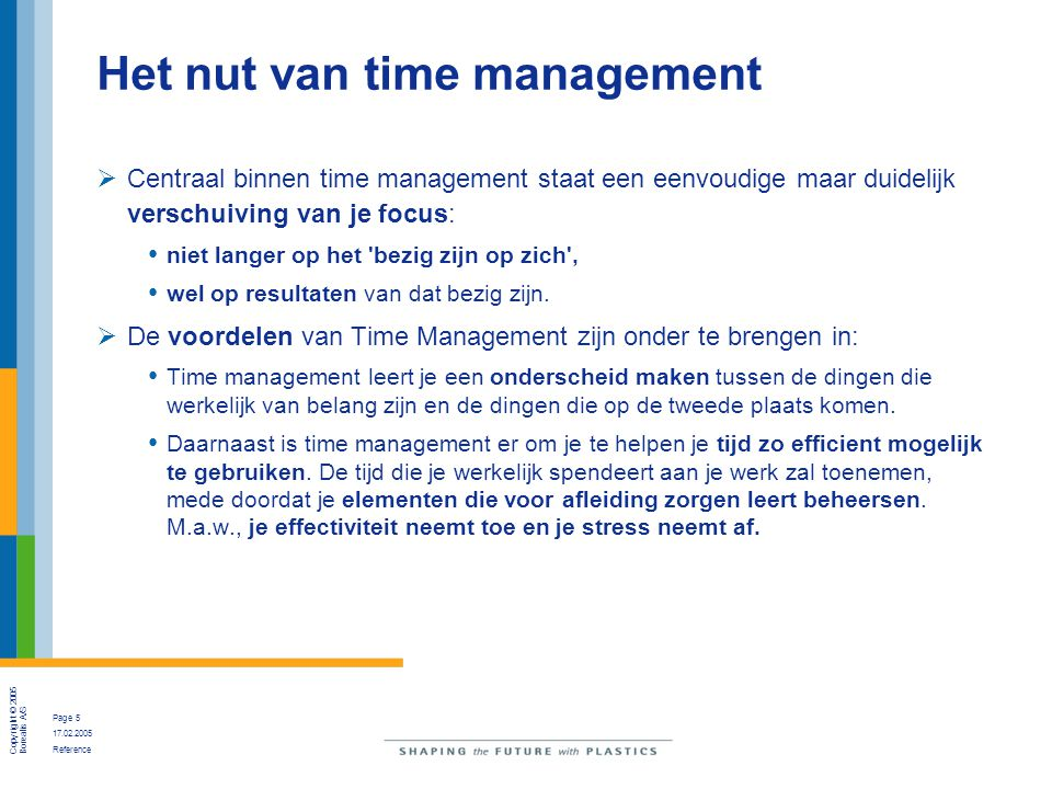 Het nut van time management