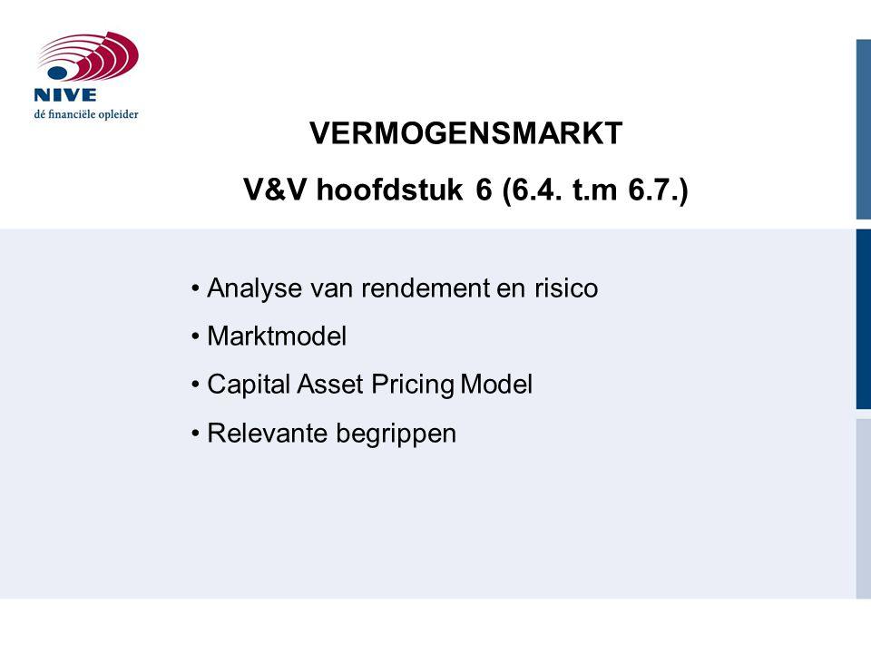 VERMOGENSMARKT V&V hoofdstuk 6 (6.4. t.m 6.7.)