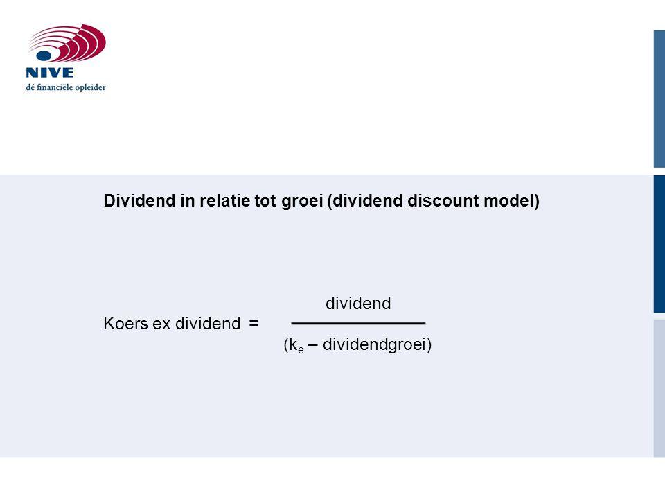 Dividend in relatie tot groei (dividend discount model)