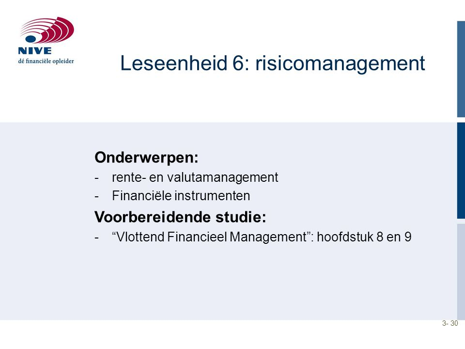 Leseenheid 6: risicomanagement