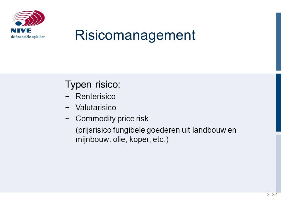 Risicomanagement Typen risico: Renterisico Valutarisico