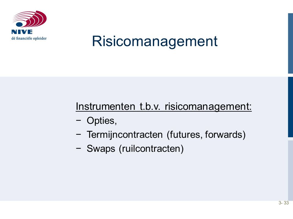 Risicomanagement Instrumenten t.b.v. risicomanagement: Opties,