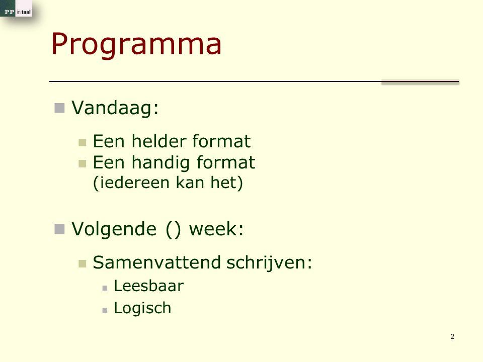 Programma Vandaag: Volgende () week: Een helder format
