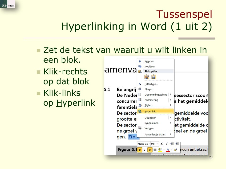Tussenspel Hyperlinking in Word (1 uit 2)