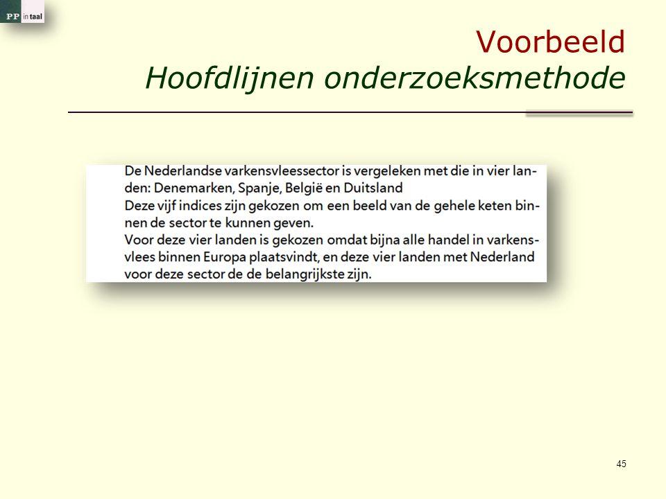 Voorbeeld Hoofdlijnen onderzoeksmethode