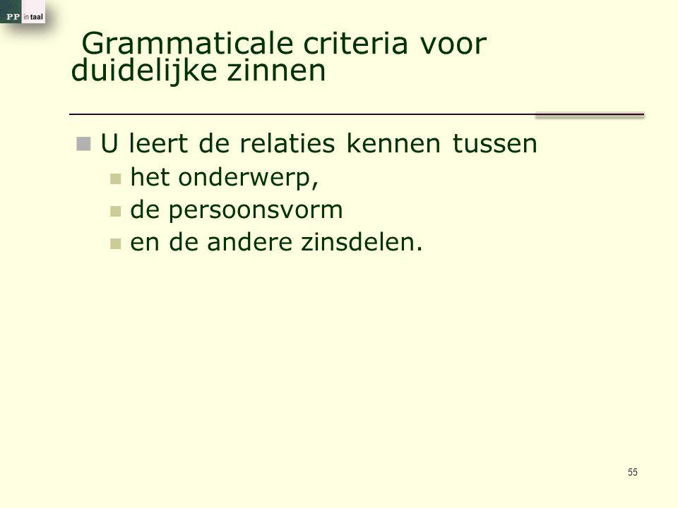 Grammaticale criteria voor duidelijke zinnen