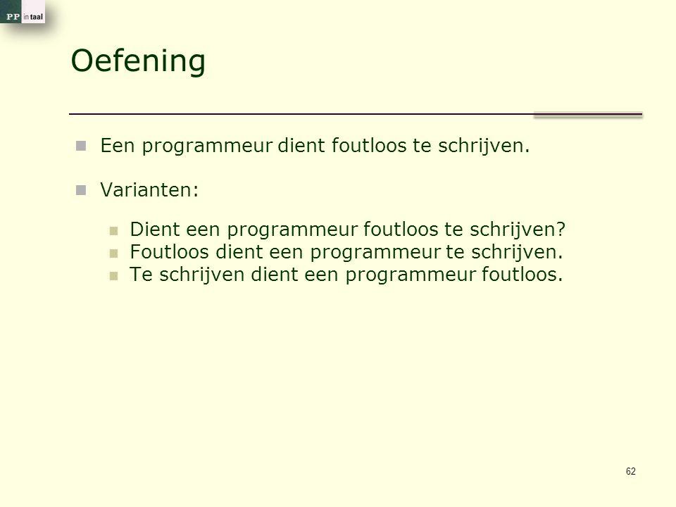 Oefening Een programmeur dient foutloos te schrijven. Varianten: