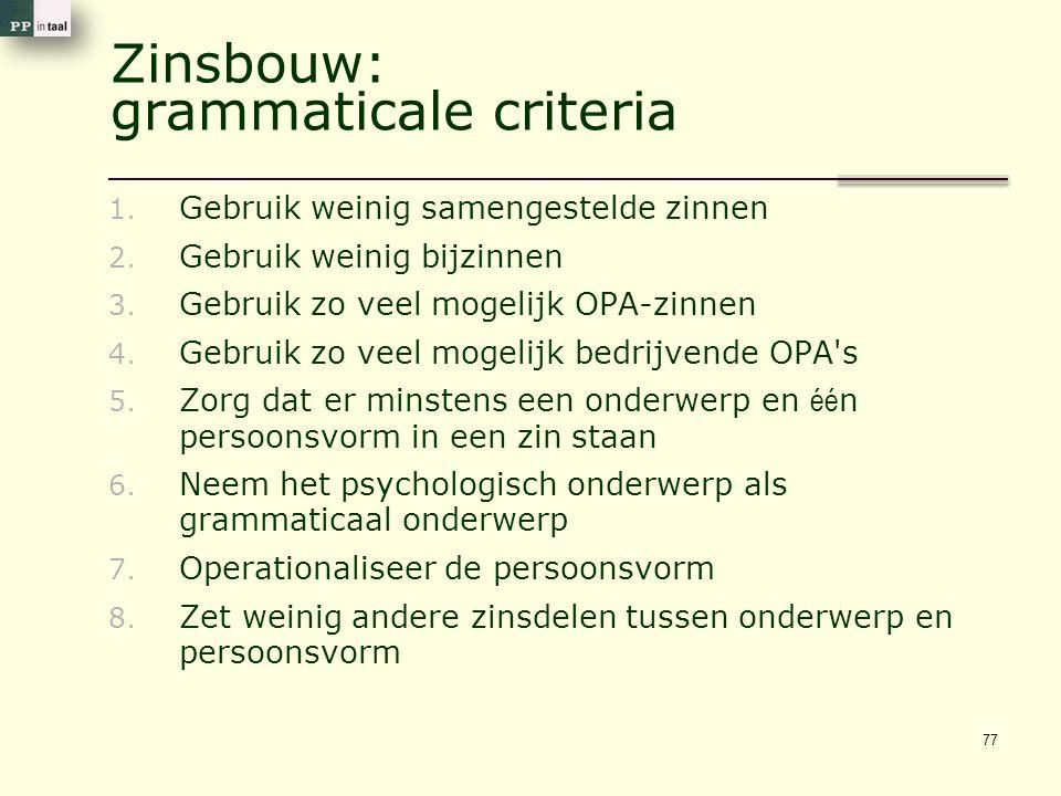 Zinsbouw: grammaticale criteria