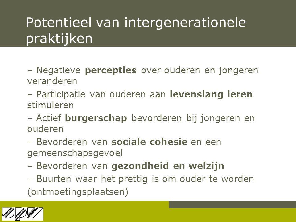 Potentieel van intergenerationele praktijken