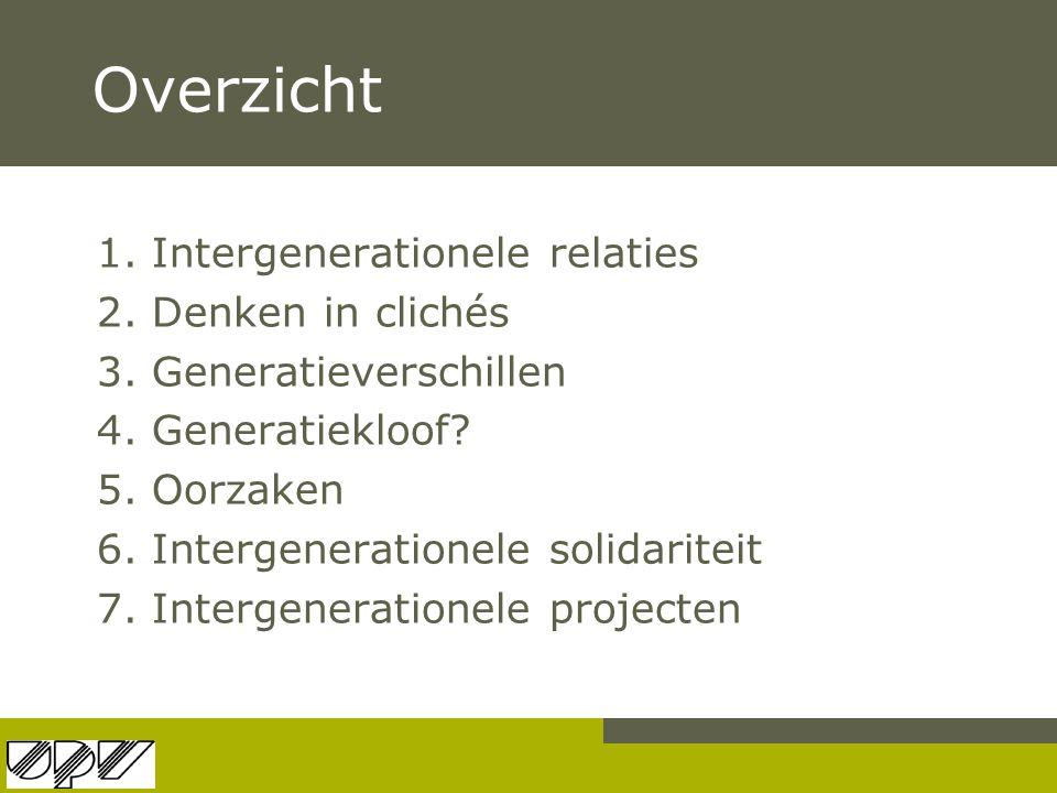 Overzicht 1. Intergenerationele relaties 2. Denken in clichés