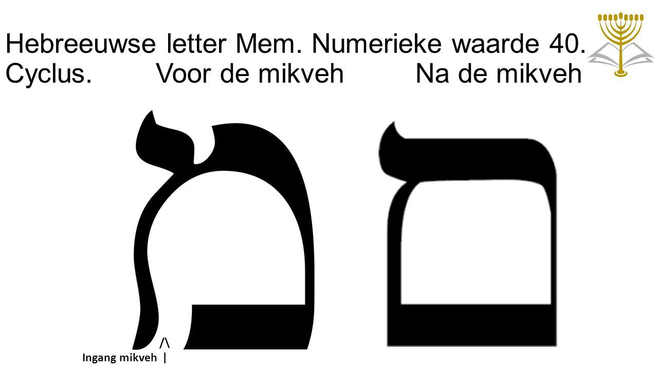 Hebreeuwse letter Mem. Numerieke waarde 40. Cyclus. Voor de mikveh