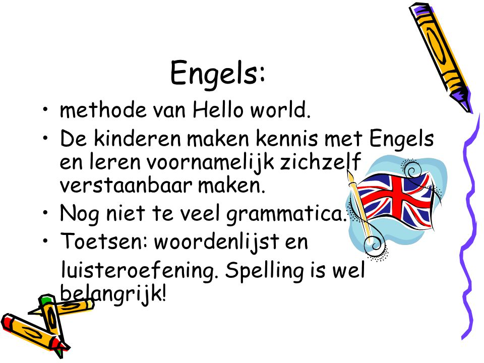 Engels: methode van Hello world.