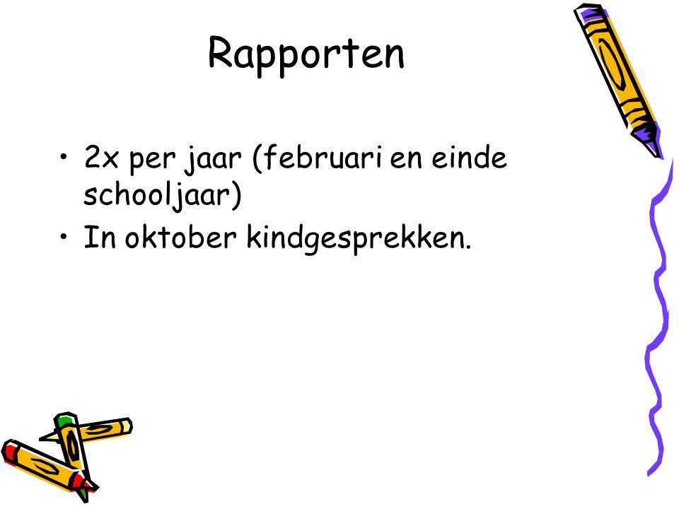 Rapporten 2x per jaar (februari en einde schooljaar)