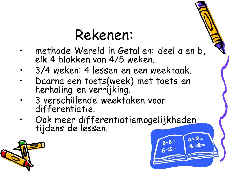Rekenen: methode Wereld in Getallen: deel a en b, elk 4 blokken van 4/5 weken. 3/4 weken: 4 lessen en een weektaak.