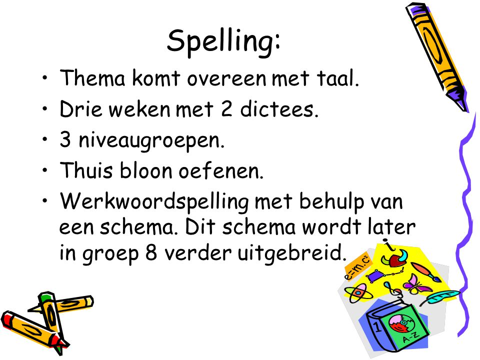 Spelling: Thema komt overeen met taal. Drie weken met 2 dictees.