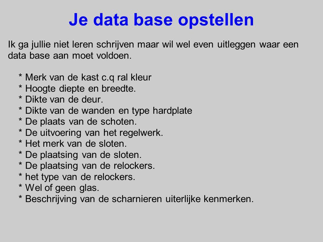 Je data base opstellen Ik ga jullie niet leren schrijven maar wil wel even uitleggen waar een data base aan moet voldoen.
