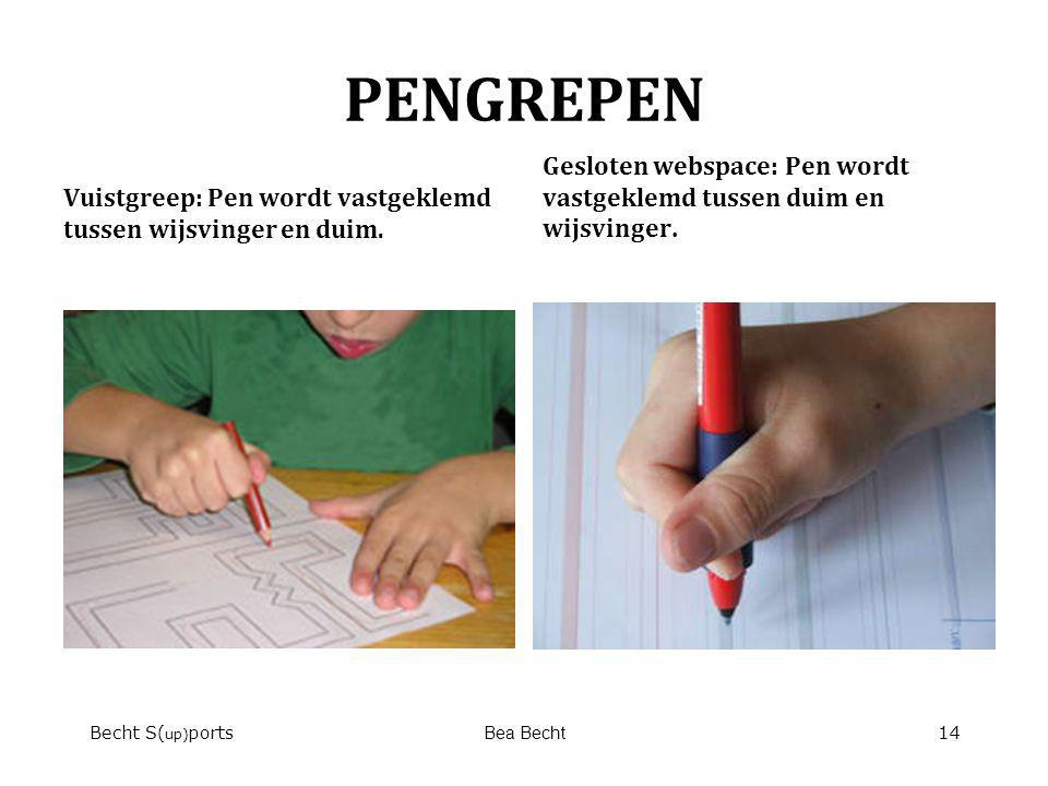 PENGREPEN Vuistgreep: Pen wordt vastgeklemd tussen wijsvinger en duim. Gesloten webspace: Pen wordt vastgeklemd tussen duim en wijsvinger.