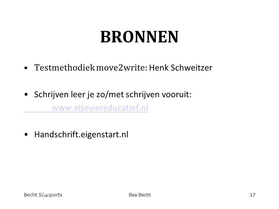 BRONNEN Testmethodiek move2write: Henk Schweitzer