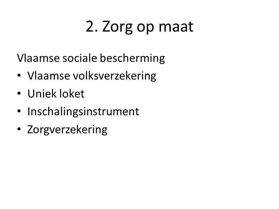 2. Zorg op maat Vlaamse sociale bescherming Vlaamse volksverzekering