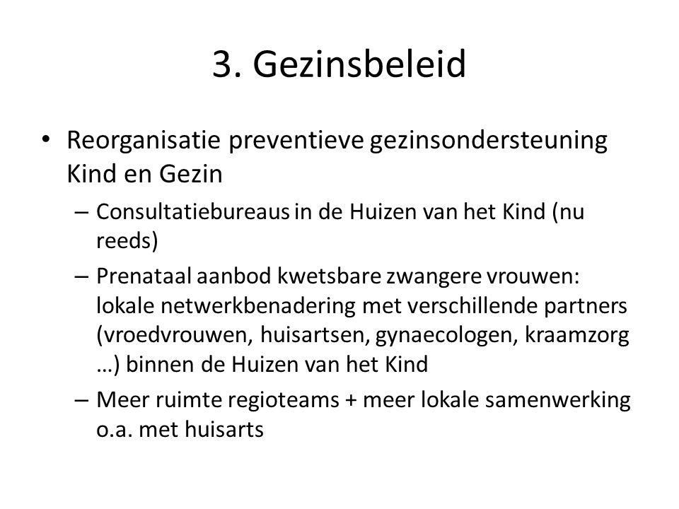 3. Gezinsbeleid Reorganisatie preventieve gezinsondersteuning Kind en Gezin. Consultatiebureaus in de Huizen van het Kind (nu reeds)