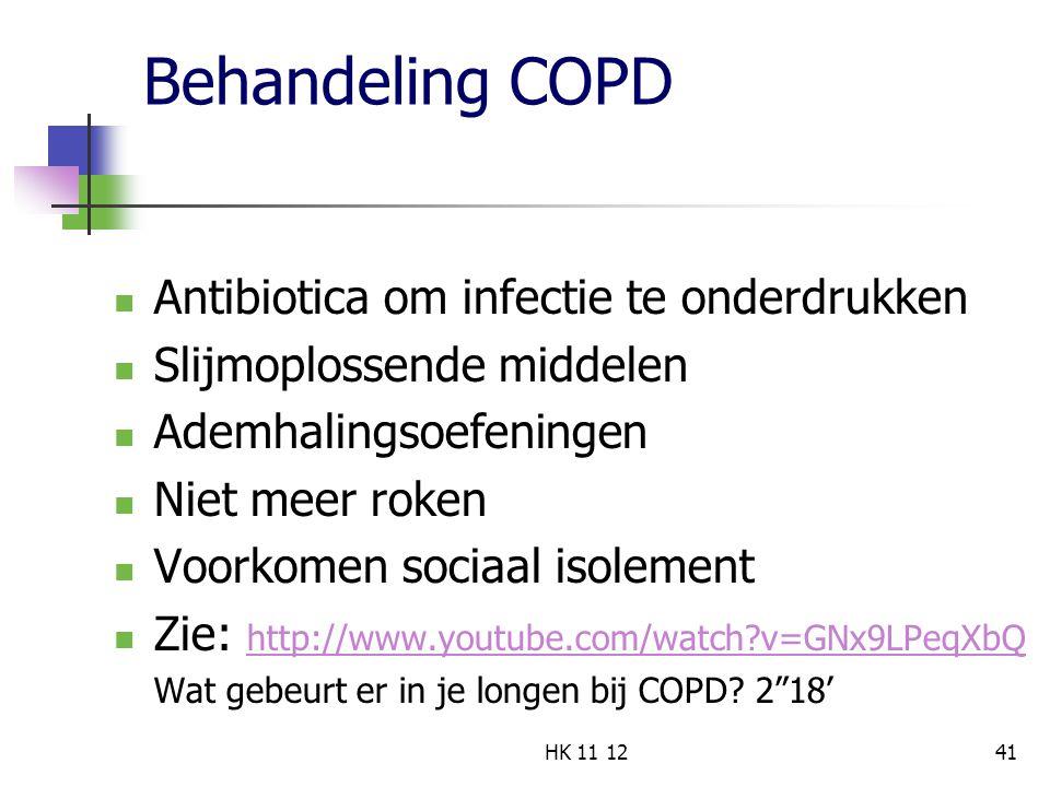 Behandeling COPD Antibiotica om infectie te onderdrukken