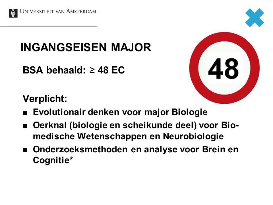INGANGSEISEN MAJOR BSA behaald: ≥ 48 EC Verplicht: