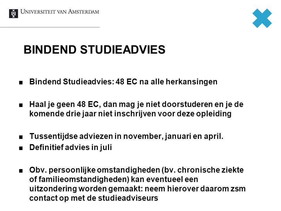 BINDEND STUDIEADVIES Bindend Studieadvies: 48 EC na alle herkansingen