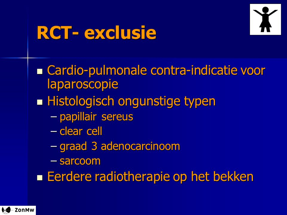 RCT- exclusie Cardio-pulmonale contra-indicatie voor laparoscopie