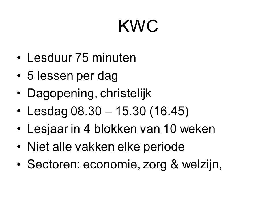 KWC Lesduur 75 minuten 5 lessen per dag Dagopening, christelijk