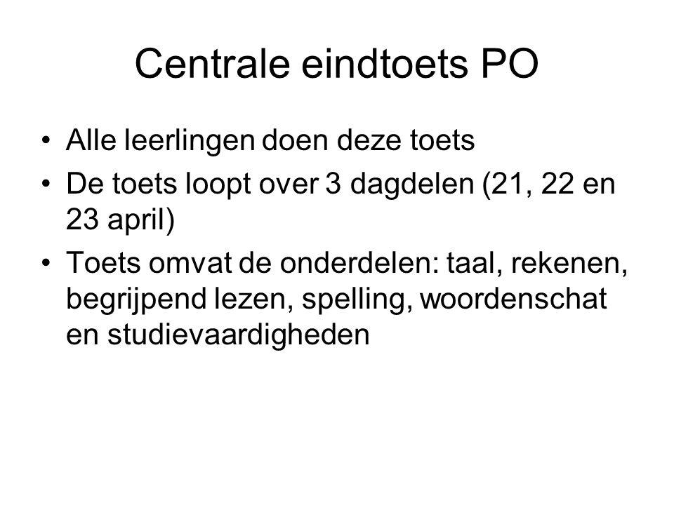 Centrale eindtoets PO Alle leerlingen doen deze toets