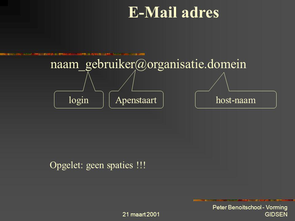 E-Mail adres naam_gebruiker@organisatie.domein login Apenstaart